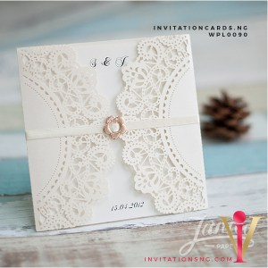 Affordable Rustic Floral Laser Cut Wedding Invitation Cards WPL0090 available at invitationsng.com. Call 08173093902