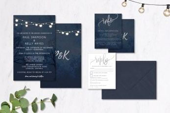 Midnight Patio Lantern Wedding Invitations