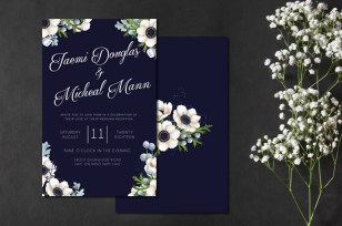 Navy Anemone Wedding Invitation