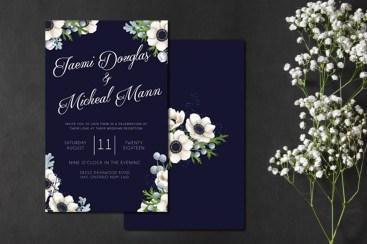 Navy Anemone Wedding Invitation