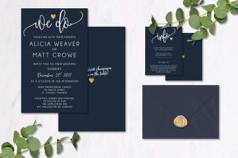 Navy Gold Invitations
