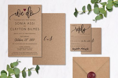 Wine Kraft Paper Invitation