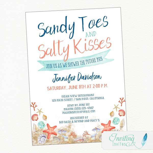 Beach bridal shower sandy toes salty kisses sandy toes salty kisses beach bridal shower invitation filmwisefo