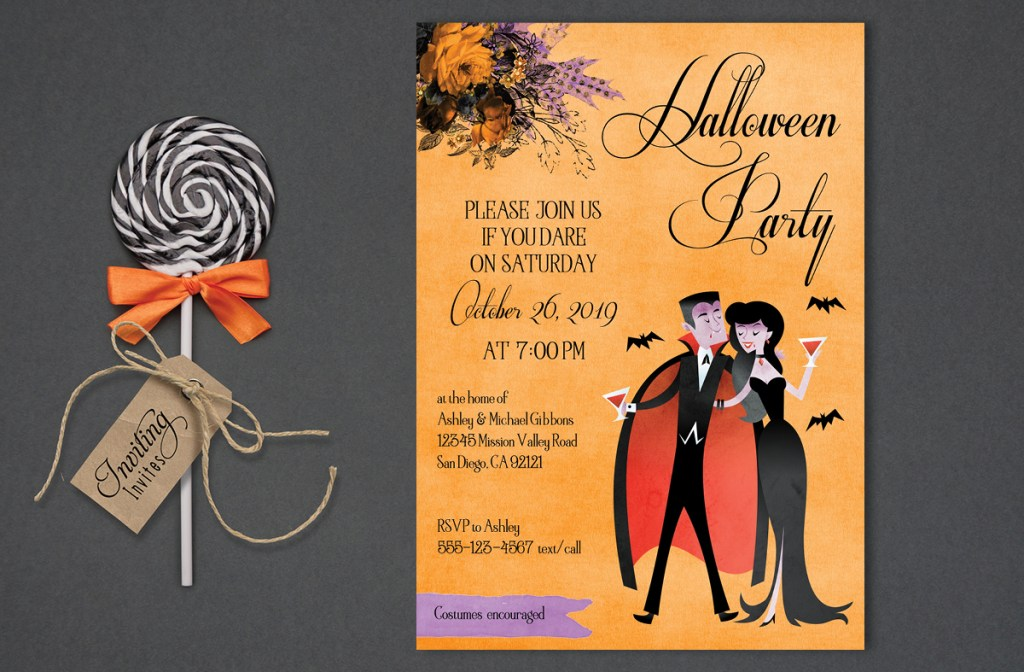 Vampire Couple Halloween Invitation