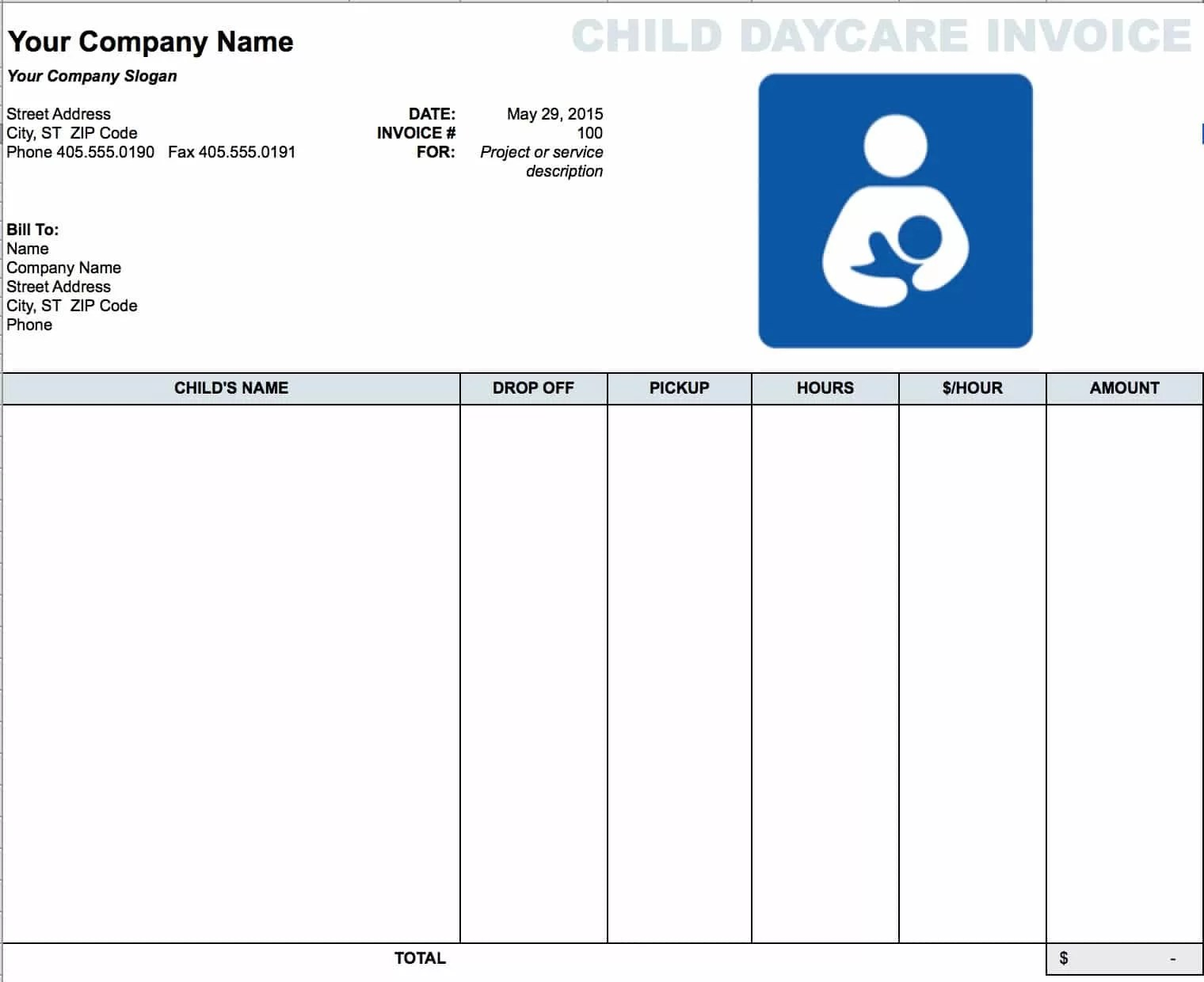 Daycare Child Invoice Template Download Free Blank