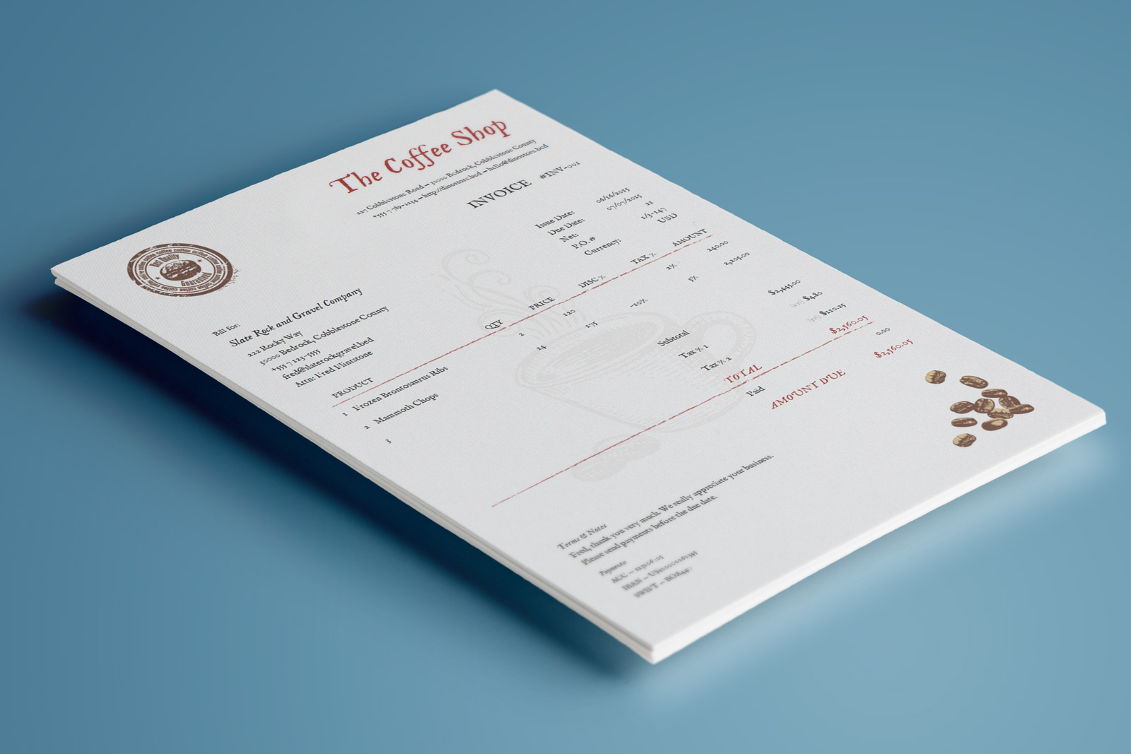 Coffee Invoice Template     The Coffee invoice template has a warm sensibility  beautiful  typography  and a very clean