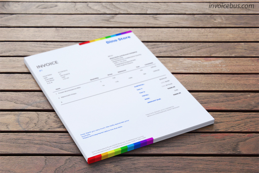 Commercial Invoice Template   Rainbow     yet free invoice template which sends message of a company that cares  about the