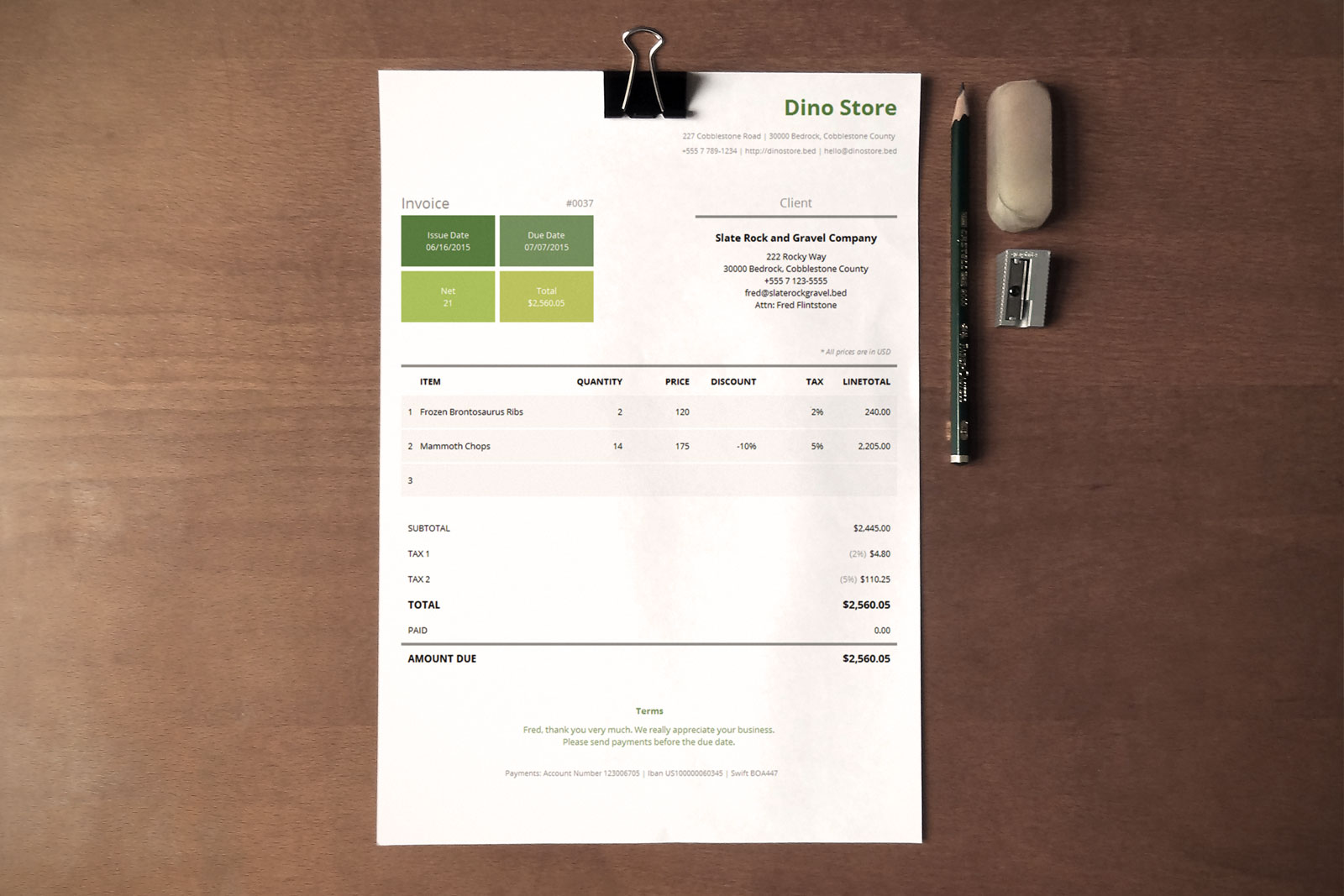 Simple Corporate Invoice Template   Metro     This corporate invoice template uses a metro style which relies more on  the typography and the