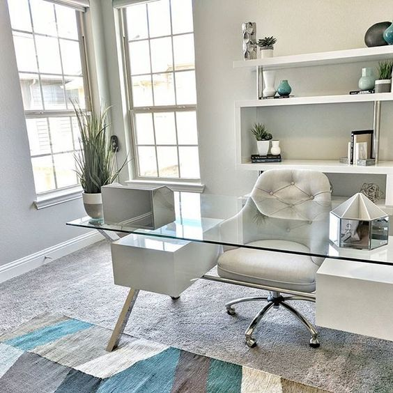 Stunning Home Office Ideas That Will Make You Want To Work From Home     Great home office decor   decorating idea   love how clean and organized  the glass desk
