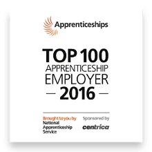 'Top 100 Apprenticeship Employer of the Year' 2016 logo