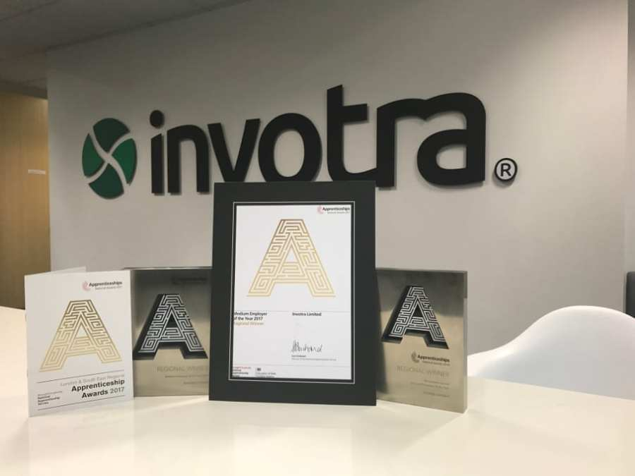 Apprentice awards displayed in the Invotra office