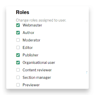 Distributed publishing roles assignment page
