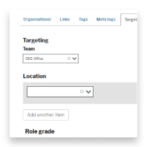 Content targeting options page