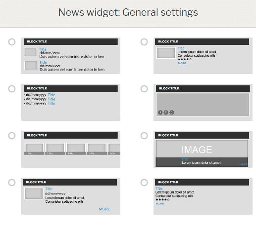 News widget features - layouts