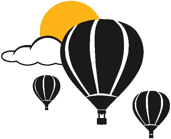 three hot air balloons hang together in a calm, sunny sky