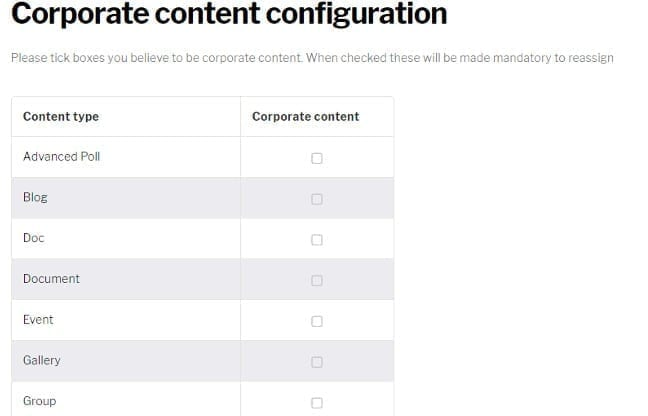 Corporate content configuration page