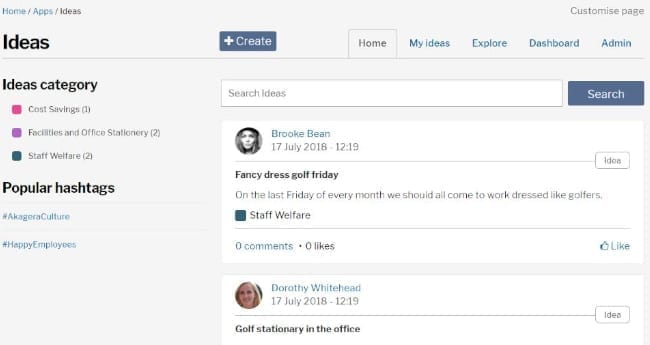 invotra ideas application screenshot