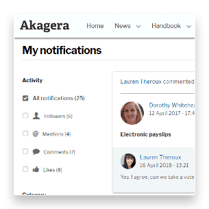 My notifications page
