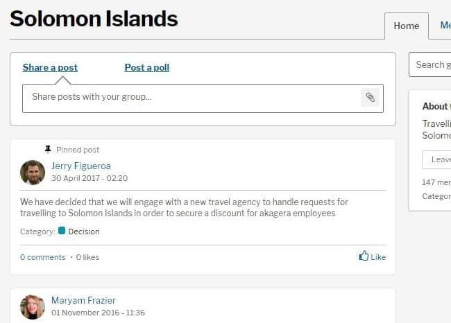 Social intranet posts feature displayed in an invotra Group