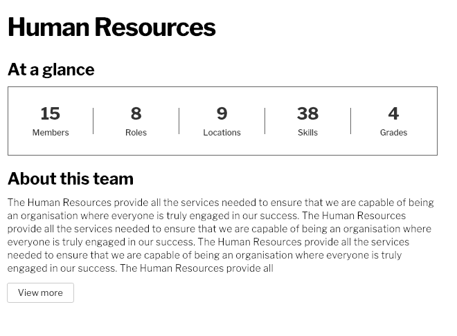 A team homepage displaying the 'view more' button,
