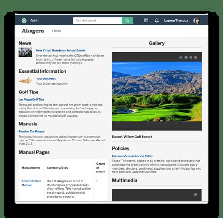 Intranet platform homepage