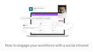 Laptop showing invotra intranet social features such as message wall, groups, news and comments