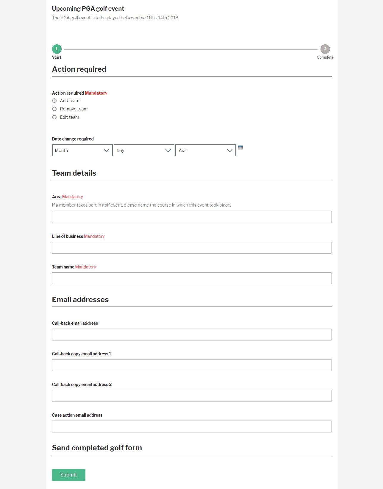 Social intranet application form