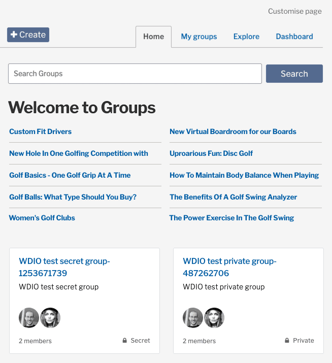 Groups application landing page with Group categories, and all available groups listed