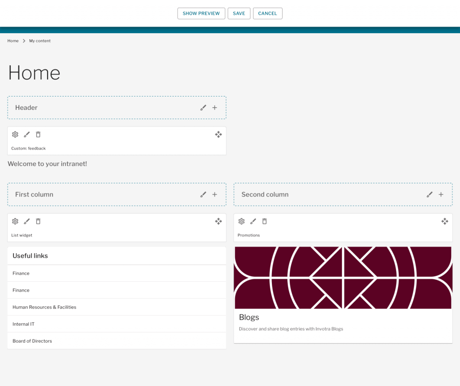 In place editor page with layout customisation