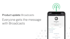 Invotra product update - Broadcasts with invotra app shown on mobile device