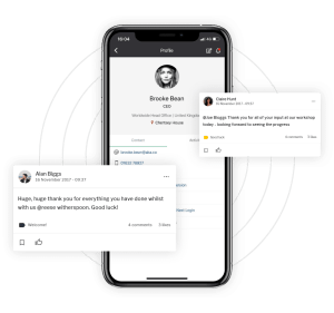 2 messages posted on message wall and mobile version of profile page