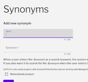 Synonyms admin page with add new synonym field