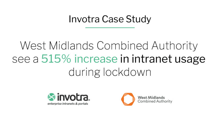 Banner reads Invotra Case Study West Midlands Combined Authority see a 515% increase in intranet usage during lockdown with invotra and WMCA logos displayed