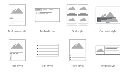 8 widget styles of multi row, tabbed, grid, carousel, app, list, hero and simple