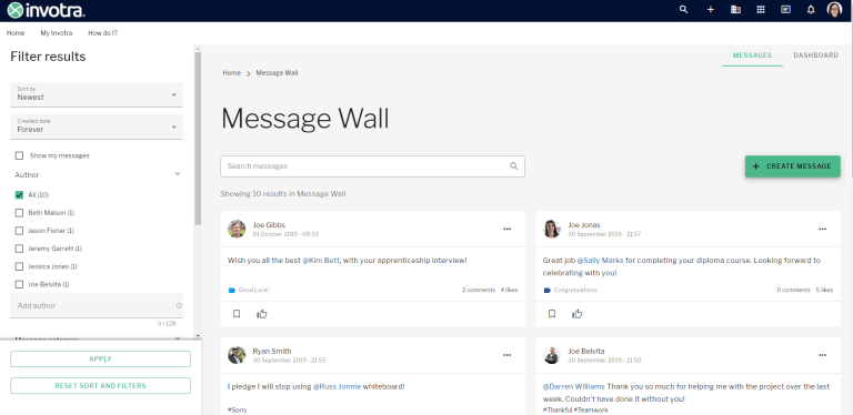 Message wall landing page showing 4 messages and filter for results