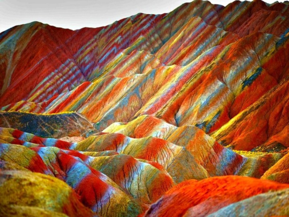 Colourful rainbow mountains in China