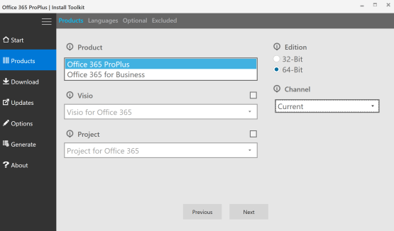 Select edtition of Office 365