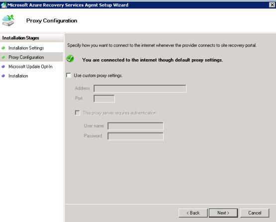 Enter proxy on the backup wizard