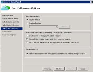 Specify destination for backup file azure