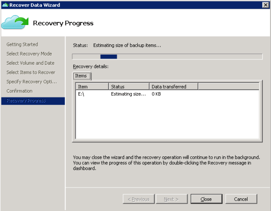 Restore step has lauched by azure backup