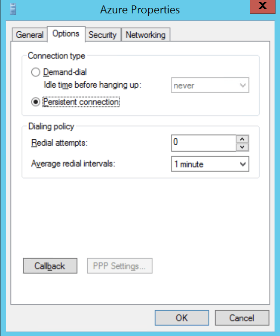 Persistent connection configured