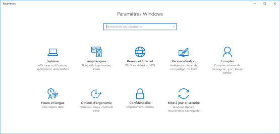 Accesss to new control panel Windows 10
