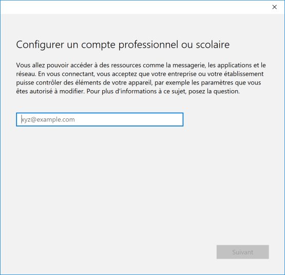 Add professionnal account for Windows 10