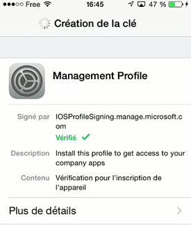 Create key for management profile