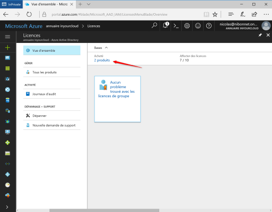 Select Product Licence on Azure Portal