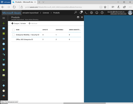 Manage Licence on Azure Portal Product is present