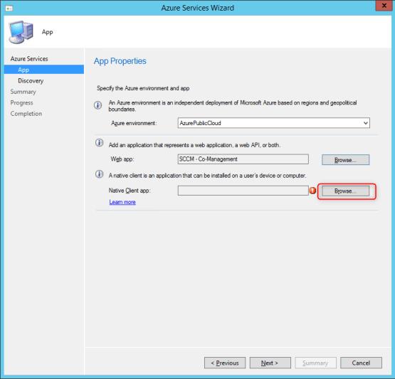 Configure native application