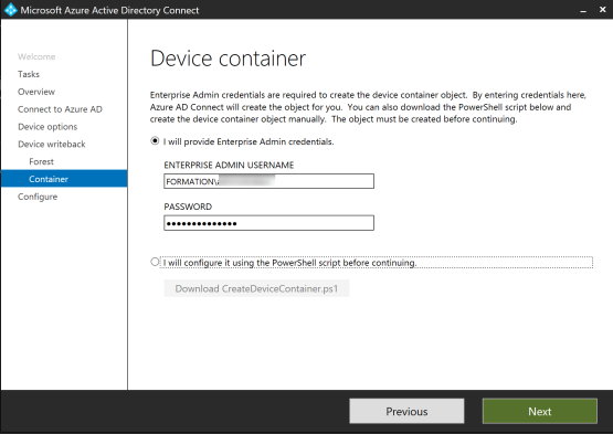 Select Device container