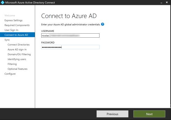 Enter credential of user