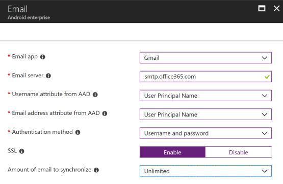 Enter information for Email profile